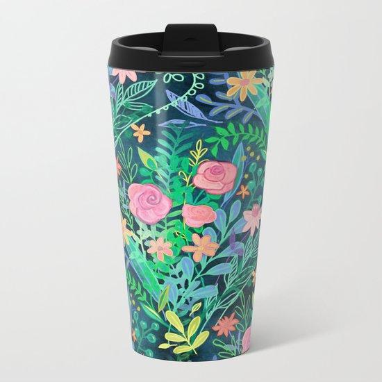 Roses + Green Messy Floral Posie Metal Travel Mug
