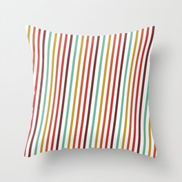 Pink Red Purple Blue Yellow Candy Stripes Linear Pattern Throw Pillow
