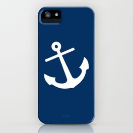 Navy Blue Anchor iPhone Case