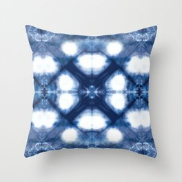 Circle Shibori Blue Throw Pillow