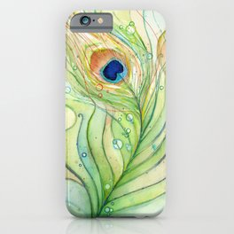 Peacock Feather Green Texture and Bubbles iPhone Case