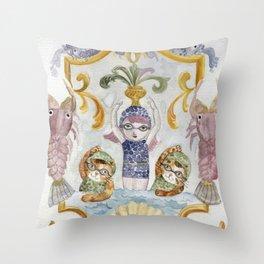 École des Sirènes - Mermaid School Throw Pillow