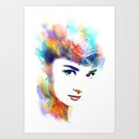 hepburn Art Prints featuring Audrey Hepburn by Michael Akers