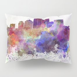 Rochester NY skyline in watercolor background Pillow Sham