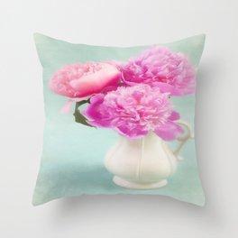 Pastel Peony Bouquet Throw Pillow