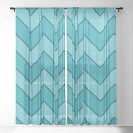 Medium Zig-Zag Blue & Aquamarine with Teal Edges Sheer Curtain