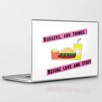 burger Laptop & iPad Skins featuring Burger  by Joyfulmonster
