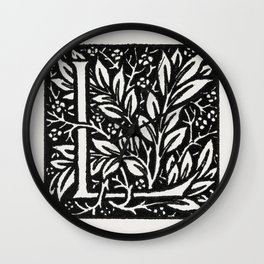 Love is Enough-Initial letter L entwined with Laurel Leaves (1866-1867) by William Morris Wall Clock