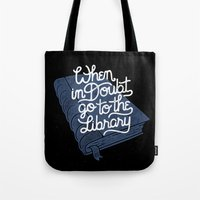 library Tote Bags featuring Library by WEAREYAWN