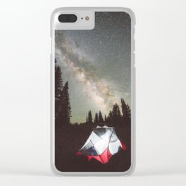 Camping Under the Milky Way Clear iPhone Case