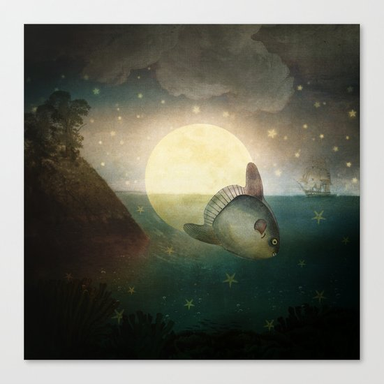 The Fish That Stole The Moon Canvas Print