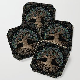 Tree of life -Yggdrasil Golden and Marble ornament Coaster