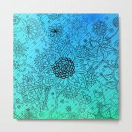 Flower Zen: Blue-Green Fade Metal Print