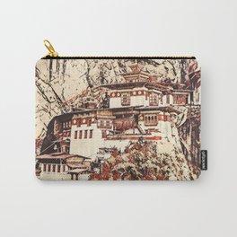 Bhutan Paro Taktsang Artistic Illustration Blossom Style Carry-All Pouch
