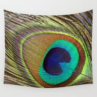 peacock feather Wall Tapestries featuring Peacock Feather by Kim Bajorek