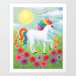 daydreamer (rainbow unicorn), sunshine, petunias Art Print
