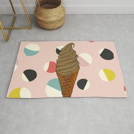 Chocolate Ice Cream Cone With Circle Pattern - Neapolitan Collection Rug