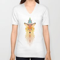 spirit V-neck T-shirts featuring fox spirit  by Manoou