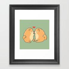 Pomeranian Kisses Framed Art Print