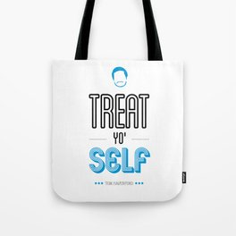 Tom Haverford, Typography Print, Parks and Recreation, TV Quote, Television - Treat Yo Self Tote Bag