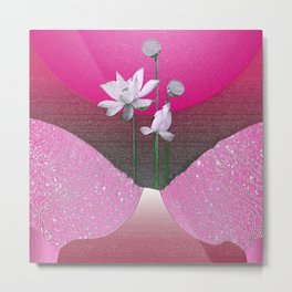 Vintage Abstract Floral Airbrush Pink Glow Relaxing Landscape Metal Print