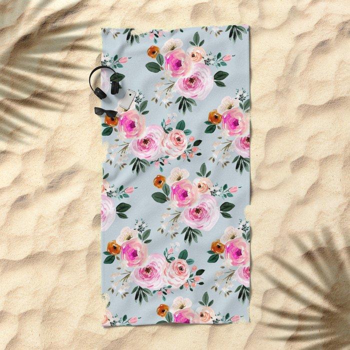Summer Beach Rose Beach Towel By Crystalwalen Society6