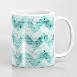 Teal Wood Chevron  Coffee Mug