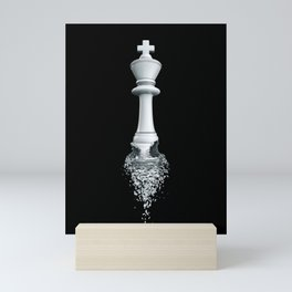 Farewell to the Pale King / 3D render of chess king breaking apart Mini Art Print