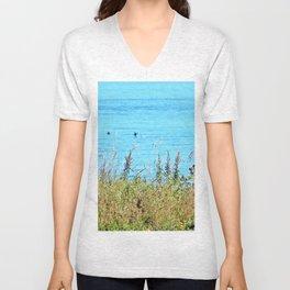 Whale chasing ducks close to shore Unisex V-Neck