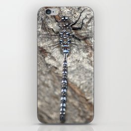 blue dragonfly on wood iPhone Skin