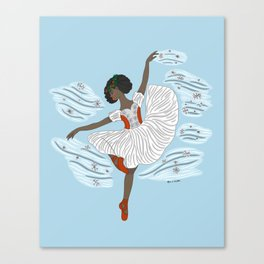 Winter Ballerina- Dance of the Seasons- Ballet Illustration Canvas Print