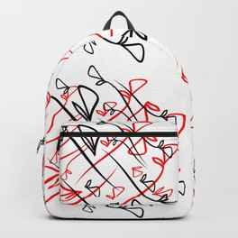 Pattern of plant red and black elements on a white background in a geometric style. Backpack