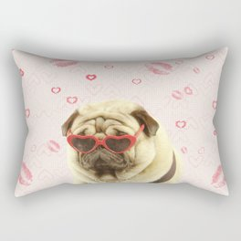 Pug face sunglasses,pugs and kisses Rectangular Pillow