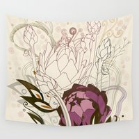 peach Wall Tapestries featuring Peach and purple  artichoke by /CAM