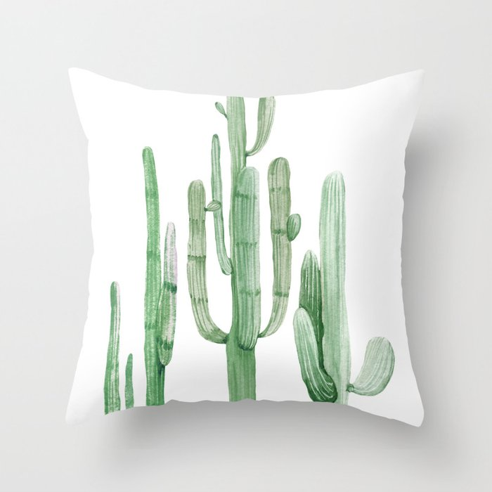Three Amigos White + Green by Nature Magick Throw Pillow