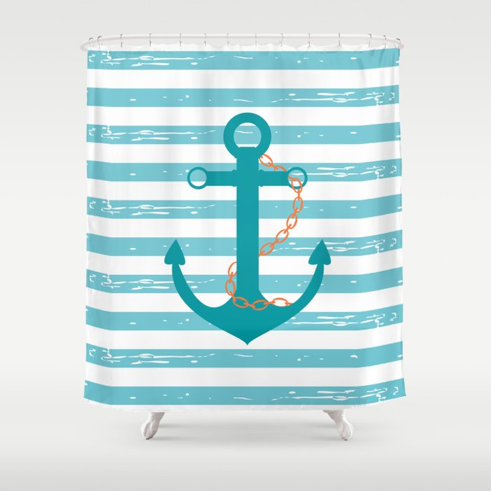 AFE Nautical Teal Ship Anchor Shower Curtain by afeimages | Society6