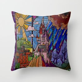 Castle Stained Glass Throw Pillow