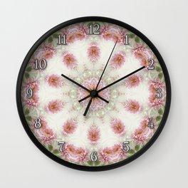 Pink Chrysanthemums Kaleidoscope Art 6 Wall Clock