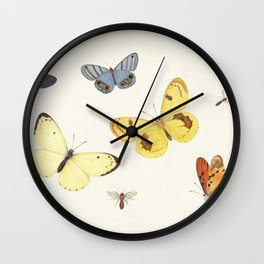 Vintage Butterfly Illustration - Yellow Wall Clock