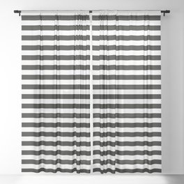 Gothic Halloween - complementing pattern white and black stripes Sheer Curtain