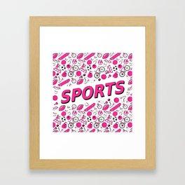 I Love Sports (pink pattern) Framed Art Print
