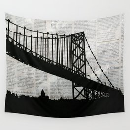 News Feed , Newspaper Bridge Collage Wall Tapestry