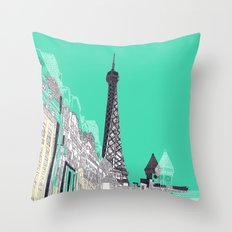 Glorious Paris - Duck Egg Blue Throw Pillow