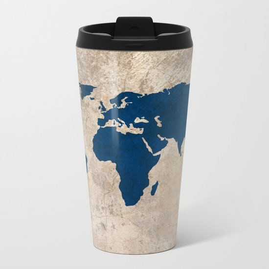 Rustic World Map Metal Travel Mug