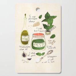Pesto. Illustrated Recipe. Cutting Board