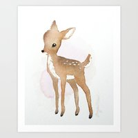fawn Art Prints featuring Fawn  by Tanya Petruk