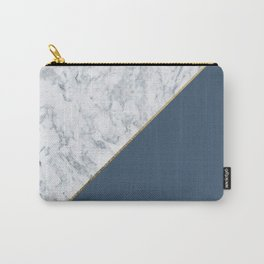 Elegant mauve blue white marble faux gold geometric Carry-All Pouch