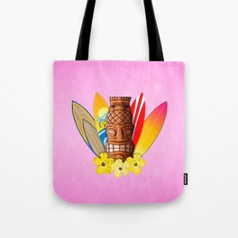 Surfboards And Tiki Mask Pink Tote Bag