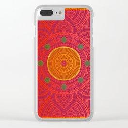 """Fuchsia and Gold Mandala"" Clear iPhone Case"