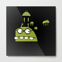 Alien Comic Spaceship Science Fiction Gift Metal Print
